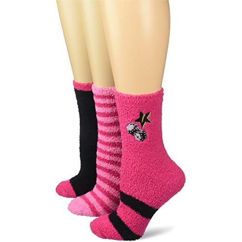 Discount Betsey Johnson Women's Embroidered Star Dice Cozy Crew Socks 3 Pack free shipping