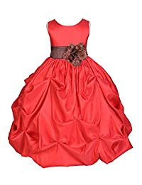 ekidsbridal Red Satin Taffeta Pick-Up Bubble Flower Girl Dress Birthday Dress 301S