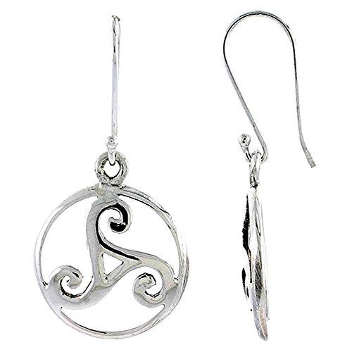 Triskele Silver Sterling (Sterling Silver Celtic Triskele Earrings, 3/4 inch long)