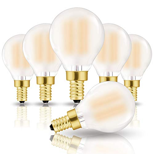 Encapsulated Base (Hizashi CRI 90 + Fully Dimmable Frosted LED G14(G45) Bulb 6W=60W Equivalent 650Lumen E12 Candelabra Base Filament Bulb Warm White 2700K, UL Listed - 6 Pack)