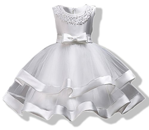 AYOMIS Girls Lace Bridesmaid Dress Wedding Pageant Dresses Tulle Party Gown Age ()