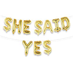 "SHE Said YES 16"" Gold Foil Letter Balloon Banner Kit 