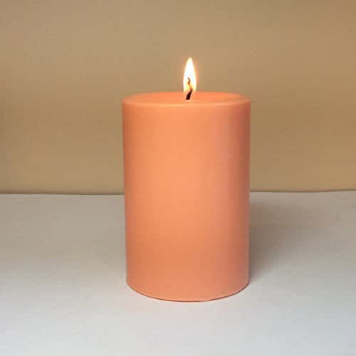 Amazon.com: Peach Colored Unscented Soy Wax Pillar Candle ...