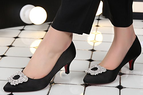 Of Shoes 5 High Black Fashion 8 Clasp Women's Inches 2 Office Diamond Satin 3 Shomq8874 Heel Sexyher vx0qw7T0
