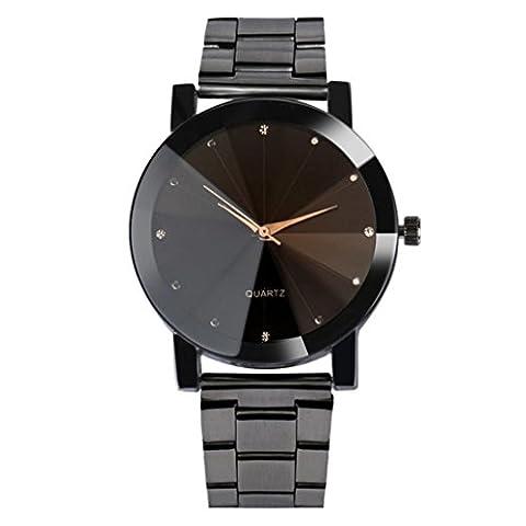 Forthery Man Analog Quartz Crystal Stainless Steel Wrist Watch (Black) (Geneva See Through Watch)