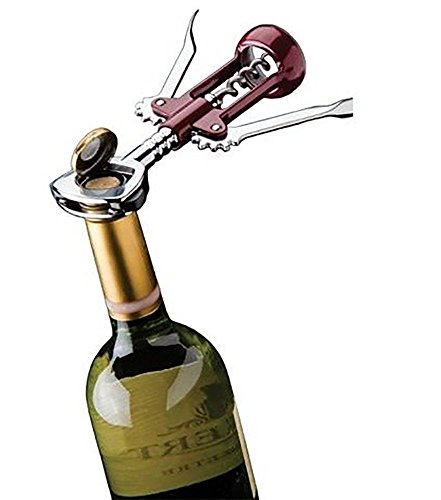 (Heavy Duty Chrome Plated Deluxe Wing Corkscrew 3-IN-1 with Built-In Foil Cutter, Made in)