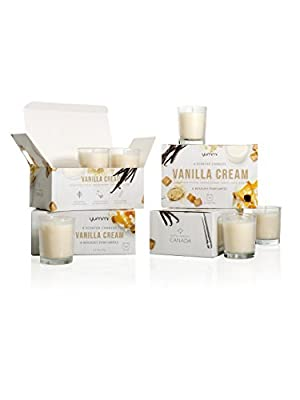 Set of 24 - Yummi Vanilla Cream Scented Votive Candles in Clear Glass