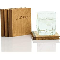 Simply Better Wooden Book Drink Coasters, With Titles: Live, Laugh, Love, and Dream. Set of 4.