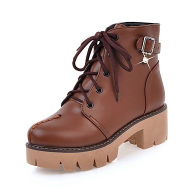 RTRY Women's Shoes Leatherette Fall Winter Fashion Boots Bootie Combat Boots Boots Chunky Heel Platform Round Toe Booties/Ankle Boots US7.5 / EU38 / UK5.5 / CN38