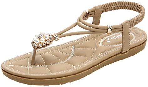 1940cd7bd979 Amazon.com  Women Bohemian Sandals Rhinestone Flat Thong Sandals Floral  Beaded Flip Flops Sandals Casual Summer Outdoor Beach Shoes for Women    Girls  ...