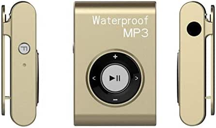 Digital Media Players IPX8 Waterproof Swimming Diving Sports MP3 Music Player with Clip & Earphone, Support FM, Memory:8GB(White) (Color : Gold)