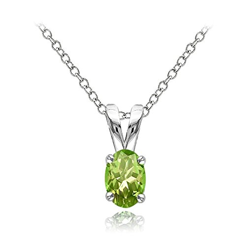 Sterling Silver Peridot 6x4mm Oval Solitaire Necklace With 18 Inch Chain