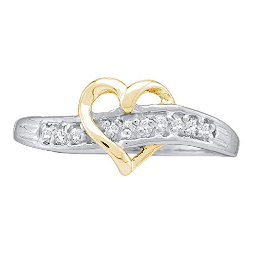 Diamond Open Heart Ring Solid 10k Yellow White Gold Love Band Fashion Style Polished Two Tone 1/20 ctw by GemApex (Image #1)