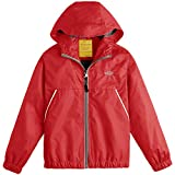 Wantdo Boy's Lightweight Hooded Rain Jacket Waterproof Outwear for Traveling(Red, 8)