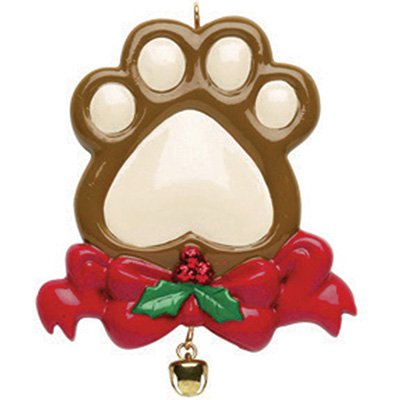 Personalized Dog Paw Christmas Ornament for Tree 2018 - Cute Doggy Hand with Garnished Red Ribbon Real Bell - Pet Good Breed Neutral Faithful Forever Furever Fluffy Holiday Aww- Free Customization