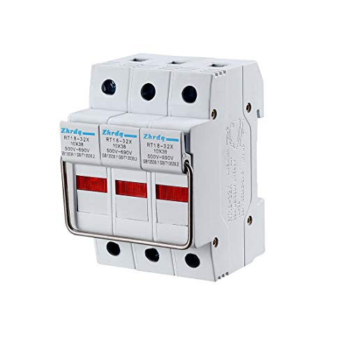 uxcell DIN Rail Mount Fuse Holder 3 Pole RT18-32 10mmx38mm with Indicator Light Gray ()