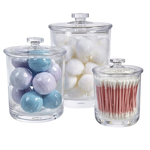 Premium Quality Clear Plastic Apothecary Jars | Set of 3 Clear Acrylic Canister Set
