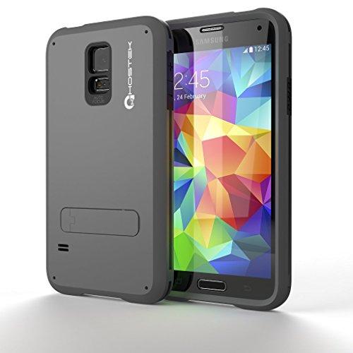 Galaxy S5 Case, Ghostek Grey Bullet Samsung Galaxy S5 Case W/ Galaxy S5 Screen Protector - Lifetime Warranty - Slim Armor 4 Layer Protective Case for Samsung Galaxy S5 IV SM-G900 GHOCAS135