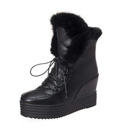 High up Soft Material Closed Black Toe Boots Women's Heels Lace Solid Allhqfashion Round qSRZ5axc
