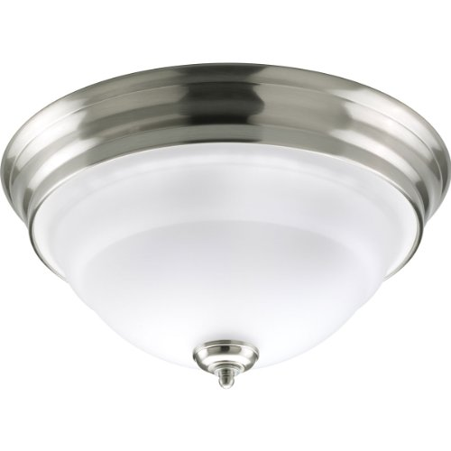 (Progress Lighting P3184-09 2-Light Close-to-Ceiling with an Etched White Bell-Shaped Glass Bowl, Brushed Nickel)