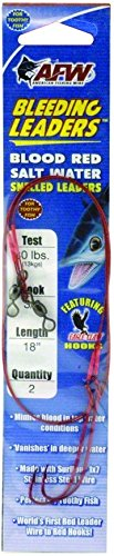 American Fishing Wire Bleeding Leader Snelled Hooks, 60 Pound Test, Size 6/0 Hook, 18 -Inches, - Hooks Wire Snelled