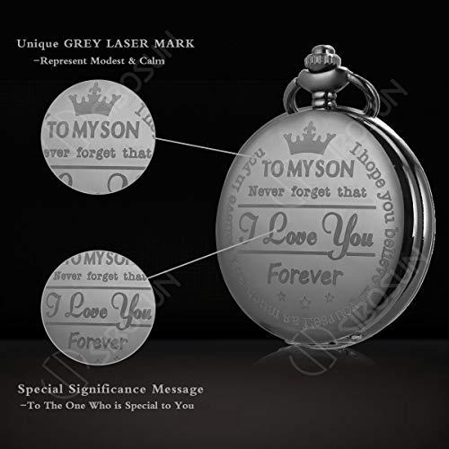 Pocket Watch Men Personalized Black Chain SIBOSUN Quartz Gift Mother Father Dad to Son Engraved Analog by SIBOSUN (Image #2)