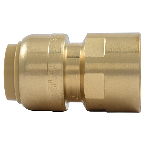 SharkBite U072LFA Straight Connector Plumbing Fitting, Female Adapter, 1/2 Inch by 1/2 Inch, FNPT, PEX Fittings, Push-to-Connect, Copper, CPVC ()