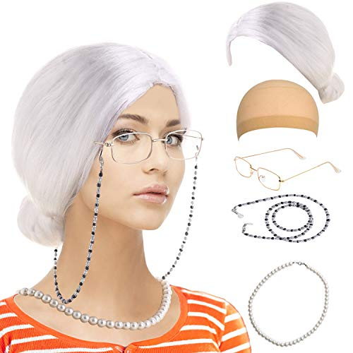 Old Lady Custume Set-Grandmother Wig,Wig Caps,Madea Granny Glasses, Eyeglass Retainer Chain,Pearl Necklace(5 Pieces) Fits All (Style-9)