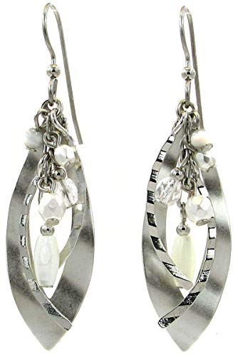 Silver Forest Wavy Marque with Multiple Beads Dangle Earrings