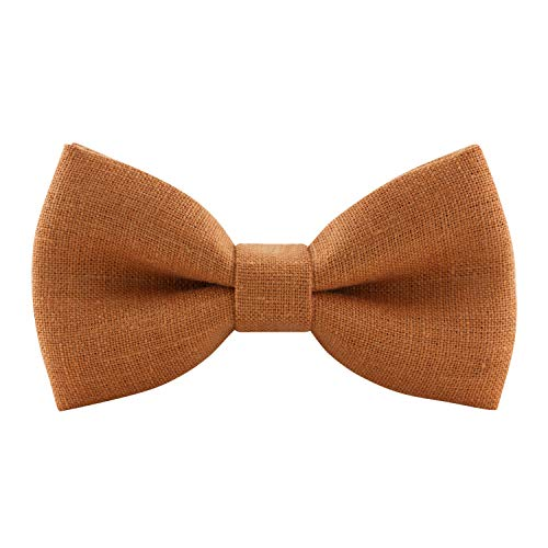 Linen Classic Pre-Tied Bow Tie Formal Solid Tuxedo, by Bow Tie House (Small, Orange)