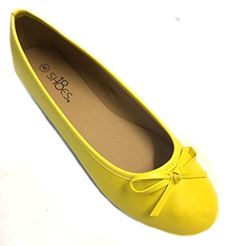 Shoes 18 Womens Ballerina Ballet Flats Shoe 8500 Canary Yellow 9 - Eggplant Shoes