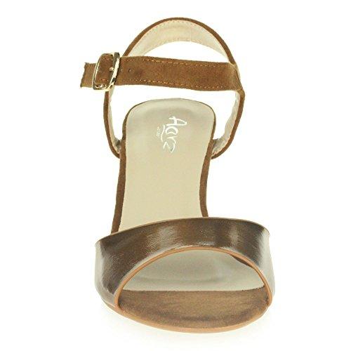 AARZ LONDON Frau Damen Abend Hochzeit Party Abschlussball Beiläufig Mittel Keilabsatz Sandalen Schuhe Größe Bronze