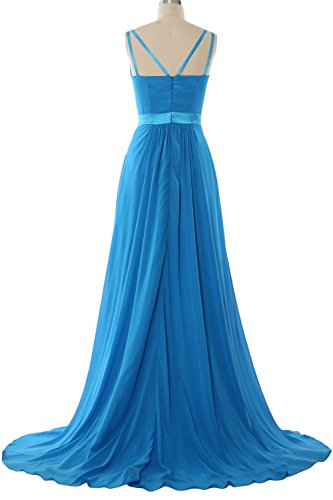 MACloth Women V Neck Mid Open Back Long Bridesmaid Dress Formal Evening Gown Menta