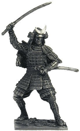 Samurai in a Straw Cape Tin Toy Soldiers Metal Sculpture Miniature Figure Collection 54mm (Scale 1/32) (M119)