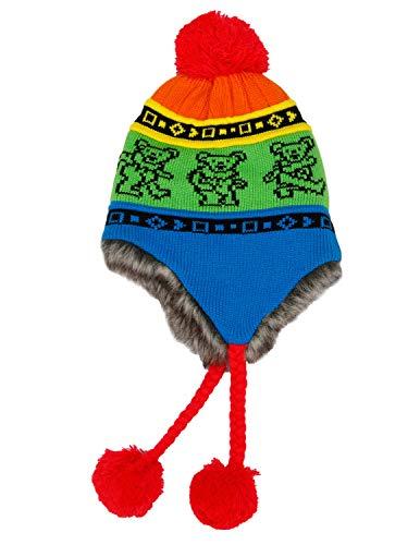 Grateful Dead Knit Ski Hat with Ear Flaps Faux Fur Lining and Pom Pom Dancing Bear Rainbow