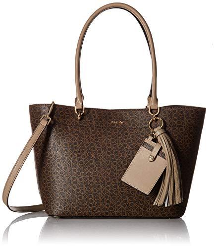 (Calvin Klein Susan Monogram Tote with Card Case Hanger, Mini Brown/Khaki/Porcini)