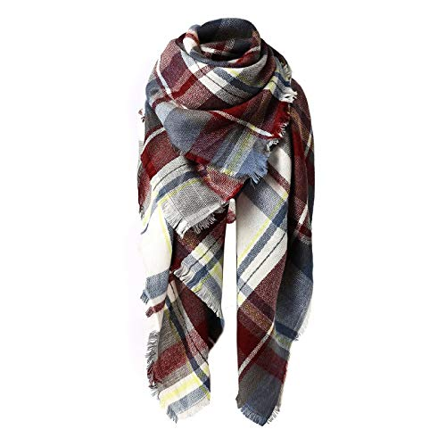 (Women's Fall Winter Scarf Classic Tassel Plaid Scarf Warm Soft Chunky Large Blanket Wrap Shawl Scarves Purple Blue Scarf)