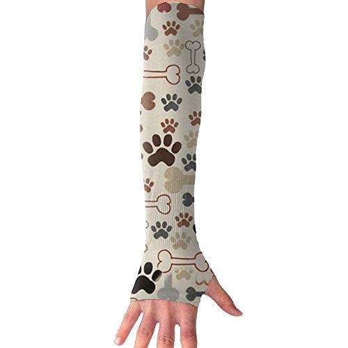 Price comparison product image Huadduo Dog Bones Paw Prints Women's Super Long Fingerless Anti-uv Sun Protection Golf Driving Sports Arm Sun Sleeves Gloves
