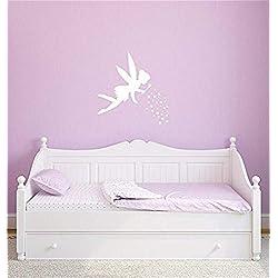 Removable Vinyl Mural Decal Quotes Art Disney Tinkerbell Fairy with Pixie Dust for Living Room Bedroom Girls Bedroom Nursery Kids Bedroom