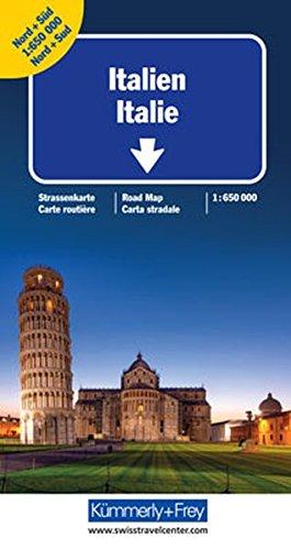 Italien Nord + Süd Strassenkarte: Doppelkarte 1:650 000 (Kümmerly+Frey Strassenkarten)