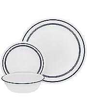 "Corelle 18 Piece""Classic Cafe Blue"" Livingware Dinnerware Set, White"