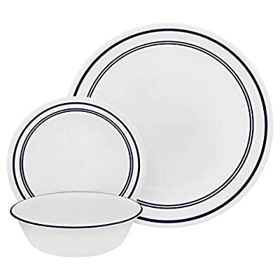 Corelle 18-Piece Service for 6, Chip Resistant, Classic Café Blue Dinnerware Set - 18 piece set includes 6 dinner plates, 6 appetizer/snack plates, 6 soup/cereal bowls Inspired by classic restaurant ware-staple of French bistros and all-American diners, alike - Café Blue is versatile, casual and timelessly stylish. The 18-piece set includes all the everyday essentials, perfectly coordinated in navy and white for a tailored table from breakfast to dinner. Nothing-else-like-it, triple-layer-strong glass plates and bowls highly resist chips and cracks - kitchen-tabletop, kitchen-dining-room, dinnerware-sets - 41EkTjIQCOL. SS400  -