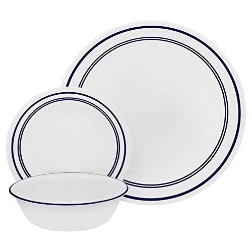 Corelle 18-Piece Service for 6, Chip Resistant, Classic Café Blue Dinnerware Set (Dinnerware Set Bistro)