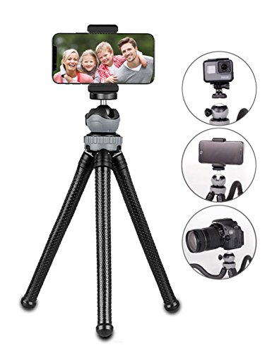 Phone/ Camera Tripod, Flexible Phone Tripod Stand with Phone Holder Mount Adapter, Gopro Adapter for Smartphone, Camera, Gopro