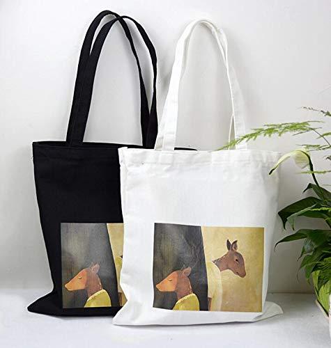 Femme Shopping En File Toile Sac Main Light Pattern Elk Fourre tout Sacs blanc À Bandoulière qTz7T