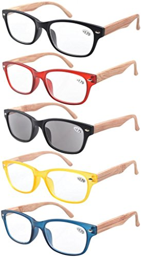 Eyekepper 5-pack Spring Hinge Wood-grain Printed Arms Reading Glasses Include Sun Readers - Arms Glasses