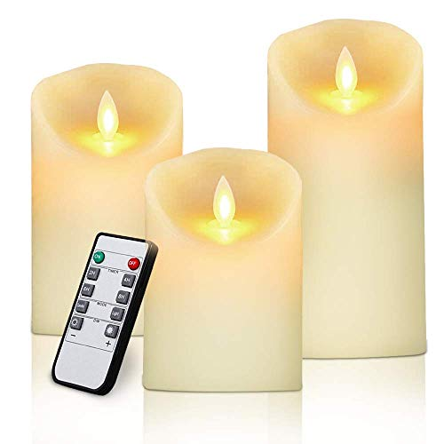 Christmas Clearance Sale LED Flameless Candles Set of 3 Ivory Real Wax Pillars Include Realistic Dancing LED Flames and 10-Key Remote Control with Timer Function 400+ Hours by 3 AAA Batteries (Flicker Led Candle Luminara)
