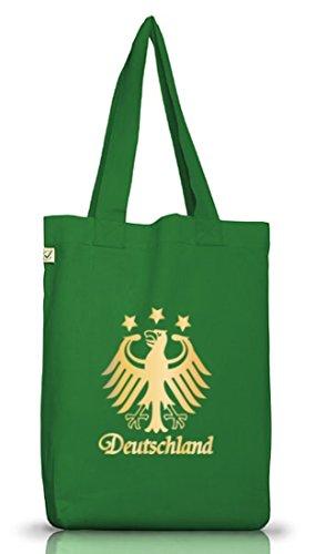 EM/WM 28 - Deutschland Adler GOLD EDITION, Fußball Jutebeutel Stoff Tasche Earth Positive (ONE SIZE) Moss Green