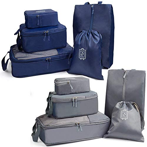 Packing Cubes (2 Sets/10 Piece)- JB Compression Suitcase Organizer+ Laundry and Shoe Bag| Heavy-Duty Zippers, Oxford Fabric, Mesh Top+ Handle- Space Saver Travel Luggage Accessory (Indigo/Gray) ()