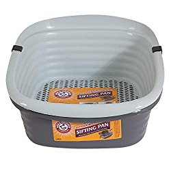 The Petmate Arm and Hammer sifting litter box provides an easy and efficient way to clean litter. The sifting system includes holes that allow clean litter to sift through easily without shaking or scooping. The three-pan system consists of two regul...